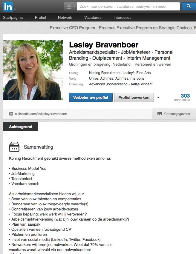 Profiel LinkedIn – voorbeeld